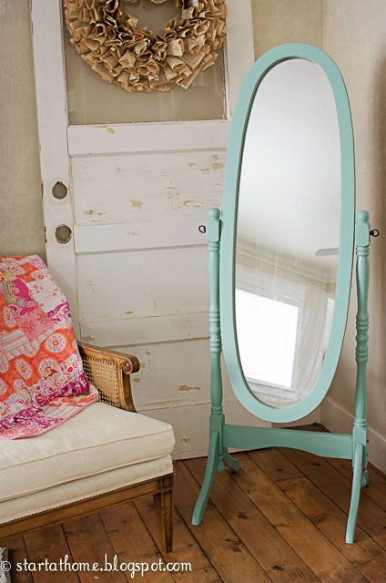 Can't decide which color I will paint my free-standing mirror... Aqua, a metallic bronzeish color, gold or dark oil-rubbed bronze?