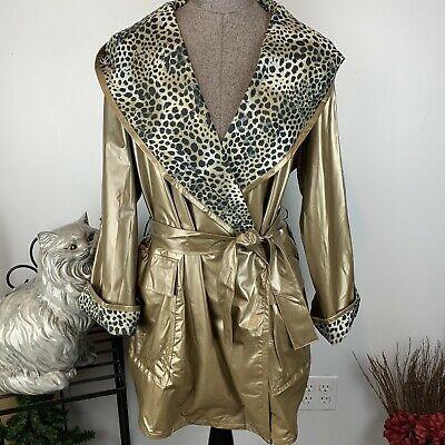 Vtg Gold Vinyl Raincoat Shawl Collar Pvc Rain Jacket Hood Coat Leopard Trim S M Ebay In 2020 Vinyl Raincoat Rain Jacket Raincoat