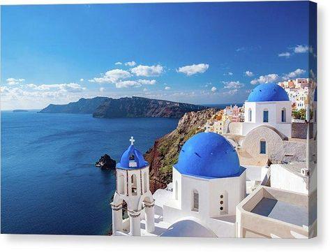 Seaside Church Rooftops In Santorini Greece - Canvas Print - 12.000 x 7.875 / Mirrored / Glossy