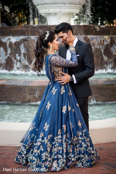 Outdoor Indian Bride And Groom S Photo Session Http Www Maharaniweddin Couple Wedding Dress Indian Wedding Photography Poses Indian Wedding Reception Outfits