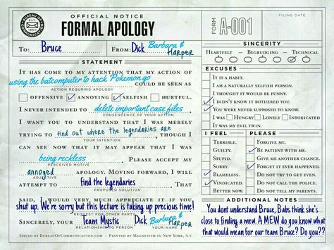 Alfred forces the family to apologize to each other via letter He - apology letter to family