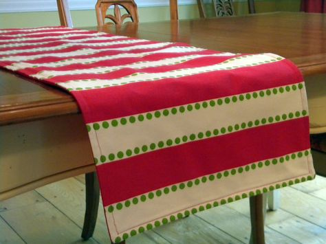 Christmas Table Runner Red White And Green Stripe By Decorate23