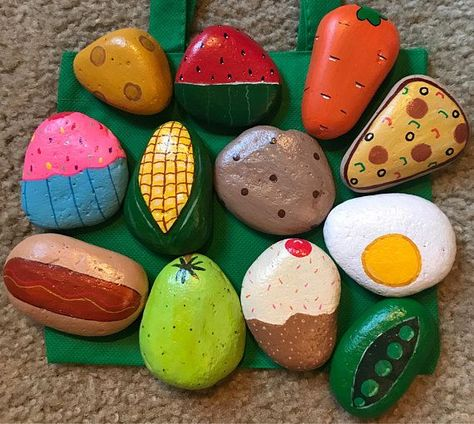Play Food / Mud Kitchen Painted Rocks, pretend to play, play . - Play Food / Mud Kitchen Painted Rocks, pretend to play, play kitchen … Play Food / - Play Kitchens, Play Kitchen Sets, Mud Kitchen For Kids, Diy Mud Kitchen, Play Kitchen Food, Pretend Kitchen, Pebble Painting, Pebble Art, Stone Painting