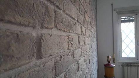 Parete in mattoni soggiorno, Mattoni riprodotti Roma ...