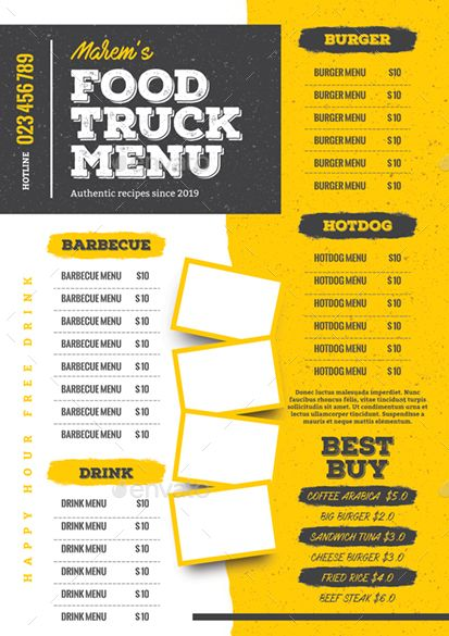 Food Truck Menu Food Truck Menu Food Menu Design Food Truck