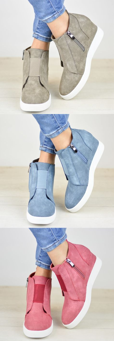 $38.99 USD Comfort Zipper Wedge Sneakers Plus Size Wedges with Side Zipper
