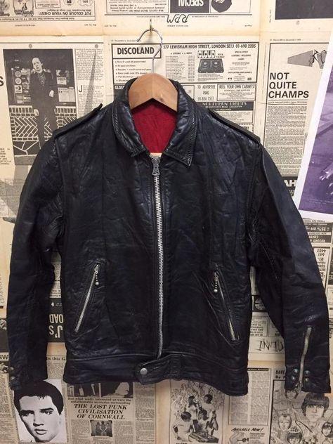 RARE Original Vintage 1950s 1960s Biker Jacket Black Leather Size 38