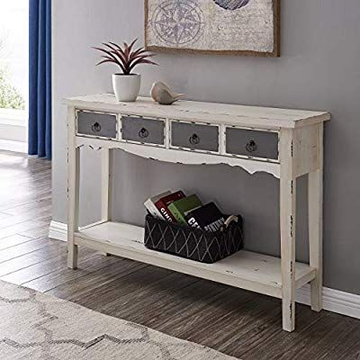 Com Belleze Hand Painted Distressed Antique White Finish Accent Console Table Home Improve Entryway Mirrored - Antique White Console Table With Storage