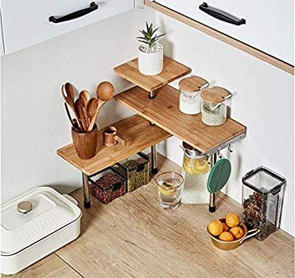 Amazon Com Hynawin 3 Tier Corner Shelf Bamboo Metal Storage Spice Rack Desk Bookshelf Display Shelves In 2020 Kitchen Shelf Decor Kitchen Corner Storage Shelf Decor