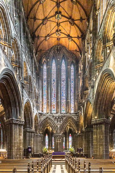 The stunning interior and stained glass windows of Glasgow Cathedral make it one of the prettiest churches in Scotland. wedding stained glass windows Stunning Interior of Glasgow Cathedral in Scotland Cathedral Architecture, Ancient Greek Architecture, Religious Architecture, Gothic Architecture, Amazing Architecture, Glasgow Architecture, Glasgow Cathedral, Cathedral Church, Gothic Cathedral