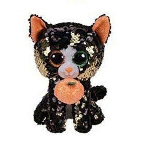 "2019 Halloween TY 9/"" Medium Flippables JINX Cat Beanie Boos Sequins Plush MWMTs"