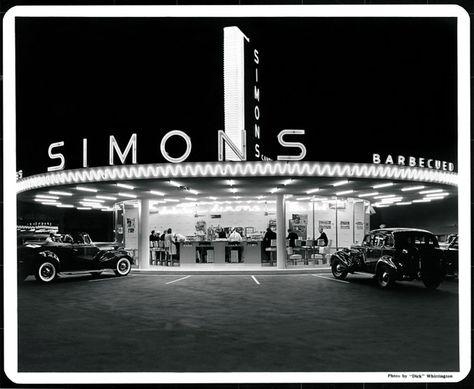 Simon's drive-in, Wilshire Boulevard and Fairfax; Photo by Dick Whittington.