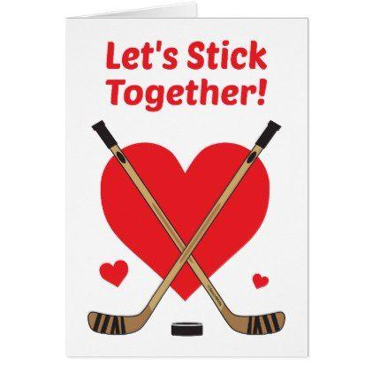 Hockey Valentine S Day Card Let S Stick Together Zazzle Com Birthday Cards For Boyfriend Hockey Valentines Diy Gifts For Boyfriend