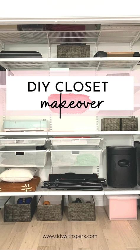 Closet organization ideas for your home office - closet office - craft storage
