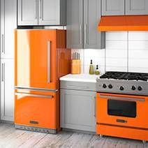 Instead, orange granite, white or pale grey blue cabinets.   orange ...