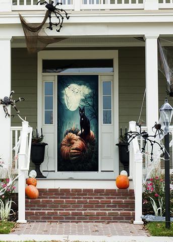 Black Cat On Pumpkins Halloween Door Decorations Door Murals Pumpkin Door