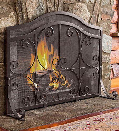 Large Crest Flat Guard Fireplace Screen Solid Wrought Ir Https Www Amazon Com Dp B00nvsum9 Fireplace Screens With Doors Fireplace Screens Fireplace Doors