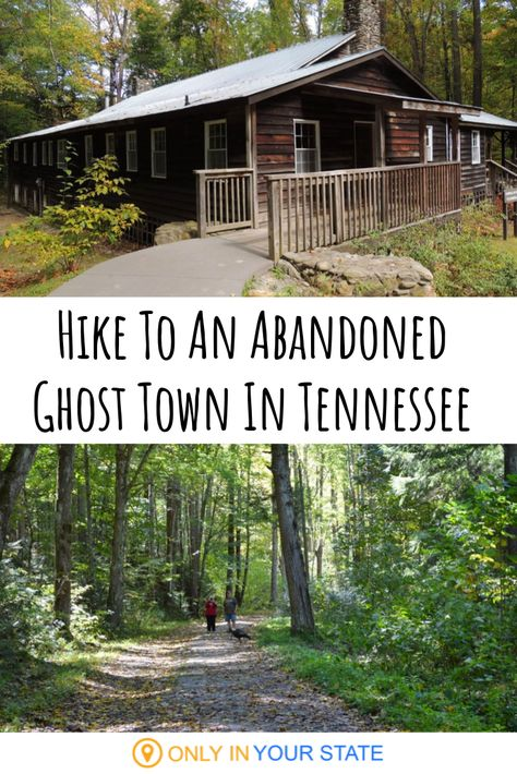 The Spooky Jakes Creek Trail In Tennessee Will Lead You To The Elkmont Ghost Town - Enjoy the fall foliage on a beautiful and scenic hike through Tennessee& Great Smoky Mountain - Tennessee Hiking, Gatlinburg Tennessee, Tennessee Vacation, Colorado Hiking, East Tennessee, Canyon Colorado, Smoky Mountains Tennessee, Great Smoky Mountains, Haunted Places