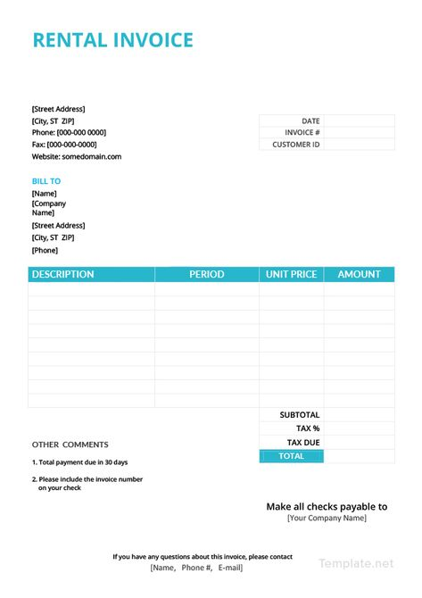 Free Rental Invoice Invoice Template Word Invoice Template