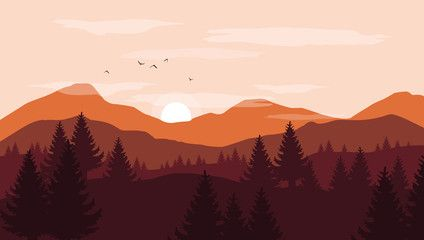 Landscape With Orange And Red Silhouettes Of Mountains And Hills With Sunset Pink Sky Vec Mountain Sunset Painting Landscape Illustration Silhouette Painting