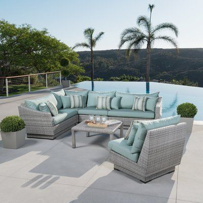 Wade Logan Castelli 6 Piece Rattan Sunbrella Sectional Seating Group With Cushions Wayfair Outdoor Sofa Sets Wicker Patio Furniture Sets Outdoor Furniture Sets