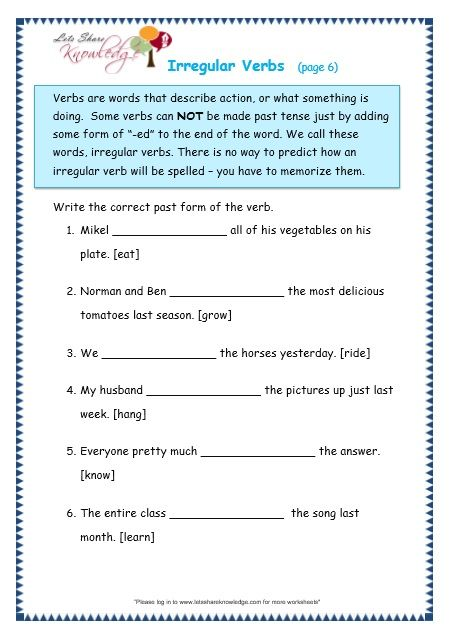 Grade 3 Grammar Topic 39 Irregular Verbs Worksheets Verb