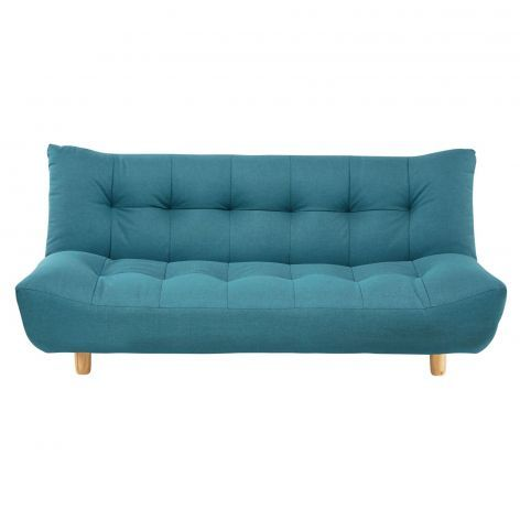 3 Seater Clic Clac Sofa Bed In Turquoise Blue Cloud Fabric Sofa