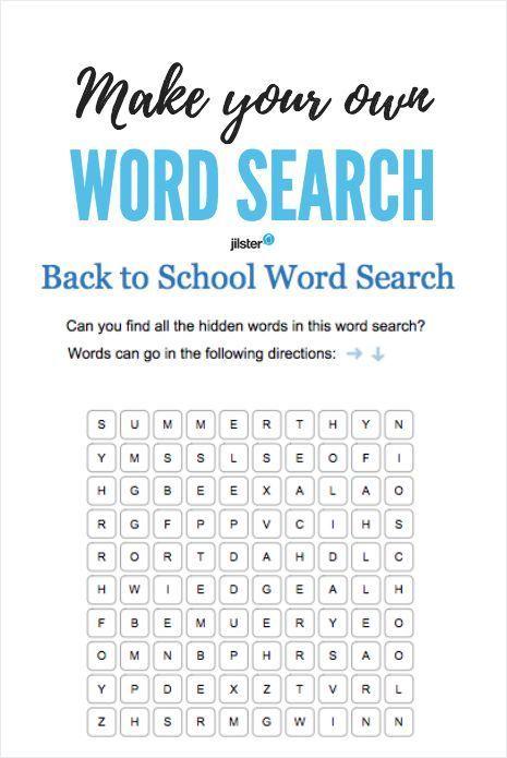 Create Your Own Custom Word Search Mit Bildern