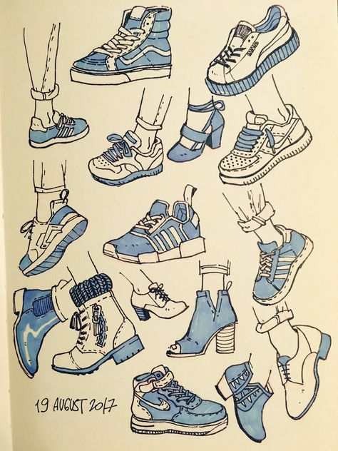 Sneakers drawing sketches design reference ideas for 2019 Art Drawings Sketches, Cute Drawings, Art Sketches, Drawing Faces, Drawing Hair, Drawing Drawing, Outfit Drawings, Hair Drawings, Gesture Drawing