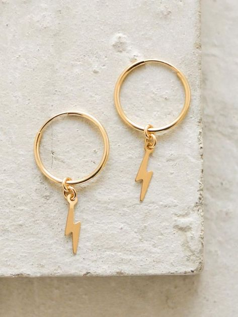 Charms Jewelry Lightning Bolt Charm Hoop Earrings by The Faint Hearted Jewelry - Stay on trend with these minimalistic hoop earrings! These gold filled hoops measure with a lightning bolt dangling from the bottom. Gold Hoop Earrings, Crystal Earrings, Dangle Earrings, Diamond Earrings, Pandora Earrings, Pearl Diamond, Feather Earrings, Diamond Studs, Cheap Earrings