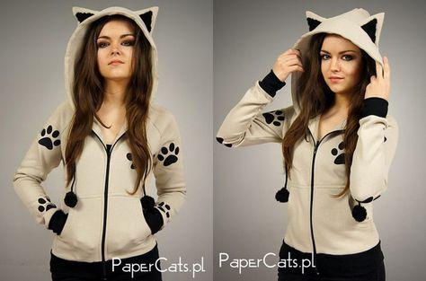14 Cat-hoodie-ears-kitty-tracks-kawii-beige Must have this.