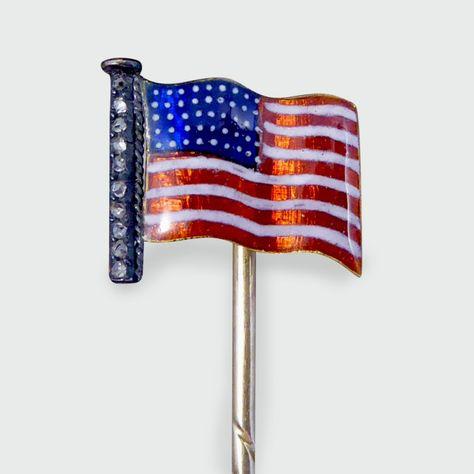 Antique Victorian Quality Diamond Set American Flag Enamel Stick Pin Quality Diamonds American Flag Stick Pins