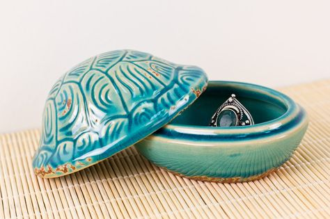 Ceramic Turtle Shell Box from Earthbound. Store your favorite jewelry and other special items in this cute little box!