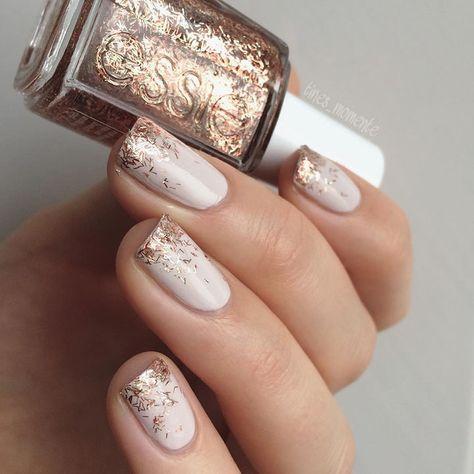 Essie nails, cream nail polish with gold glitter detail