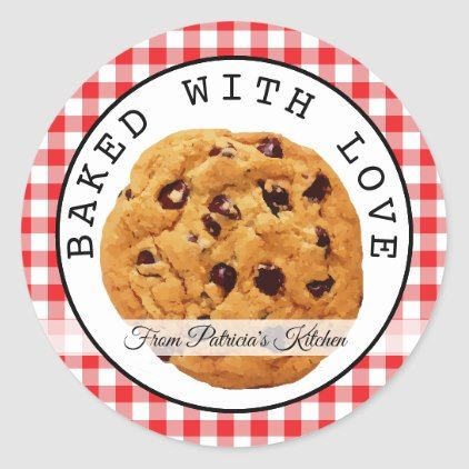 Red Plaid Baked With Love Christmas Cookies Classic Round Sticker Zazzle Com Christmas Cookies Christmas Stickers Homemade