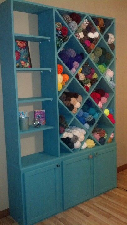 Yarn storage cabinet my husband made for me to put in the craft ...