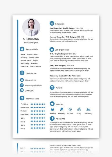 Resume Sample Download Cv Template Lovepik Com Resume Design Template Resume Words Resume Design Free