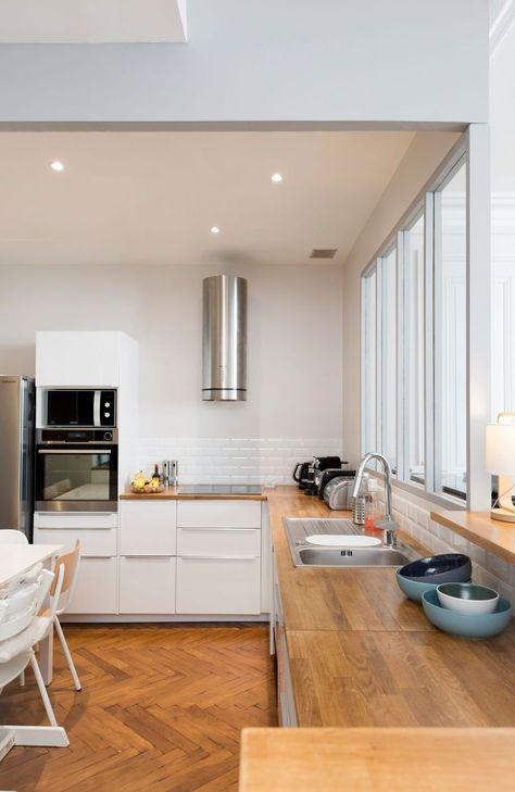 Cuisine esprit scandinave, blanc et bois clair, simple et chic Home