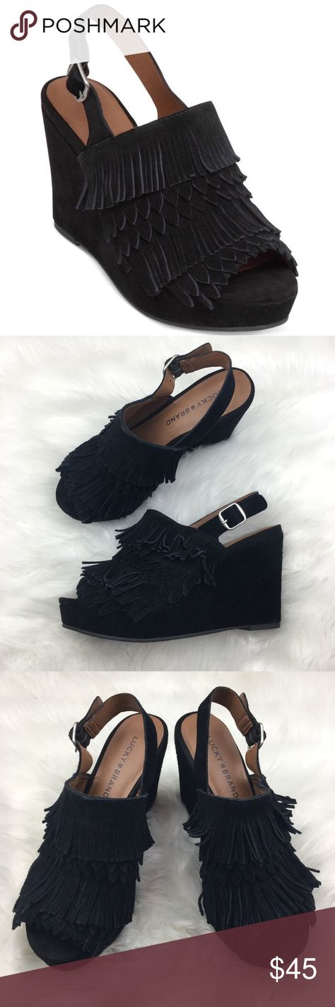 Lucky Brand | Jeena Black Fringe Wedge Heels 7M Lucky Brand | Jeena Black Fringe Wedge Wedges Peep toe Suede Heels  Size: 7 M / 7M / 37 • Lightly worn / light suede wear 4' height Note: First photos an example photo. Not actual item for sale. Lucky Brand Shoes Wedges