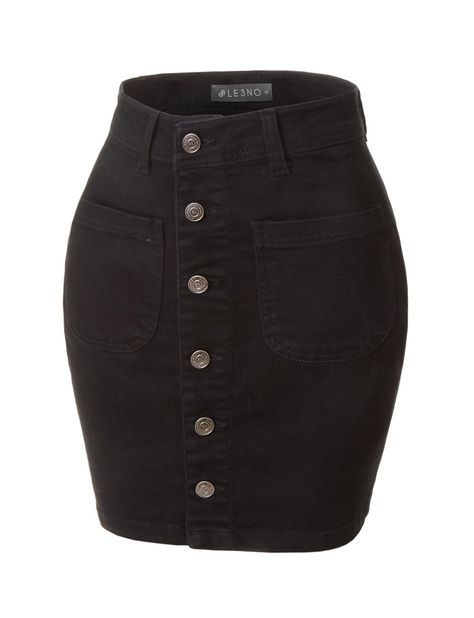 Womens Casual Vintage Black Button Down A-Line Denim Skirt
