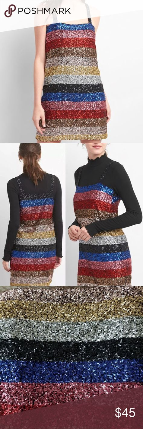 e217818b NWT Gap Crazy Stripe Sleeveless Sequin Dress Small NWT Gap Crazy Stripe  Sequin Shift Dress. Multi color. Allover sequin embellishment.