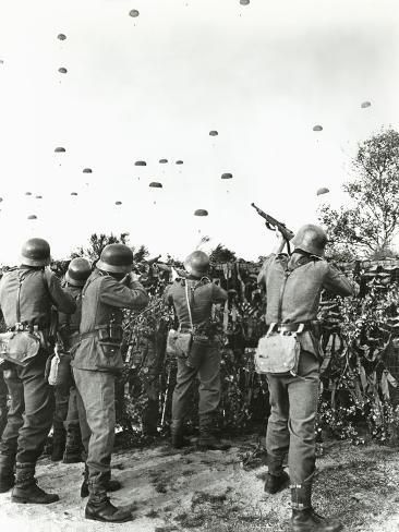 size: Photo: Soldiers Shooting at Enemy Parachuting into Field : Artists German Soldiers Ww2, German Army, Germany Ww2, Ww2 Photos, War Photography, Luftwaffe, Historical Pictures, Women In History, World War Ii