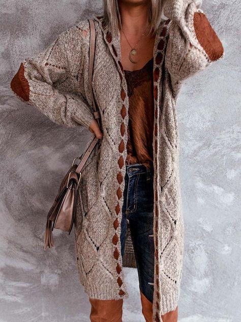 Caramel Brown Stitching Cardigan