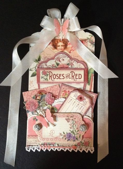 Graphic 45 Time to Flourish Valentine tag card by Anne Rostad