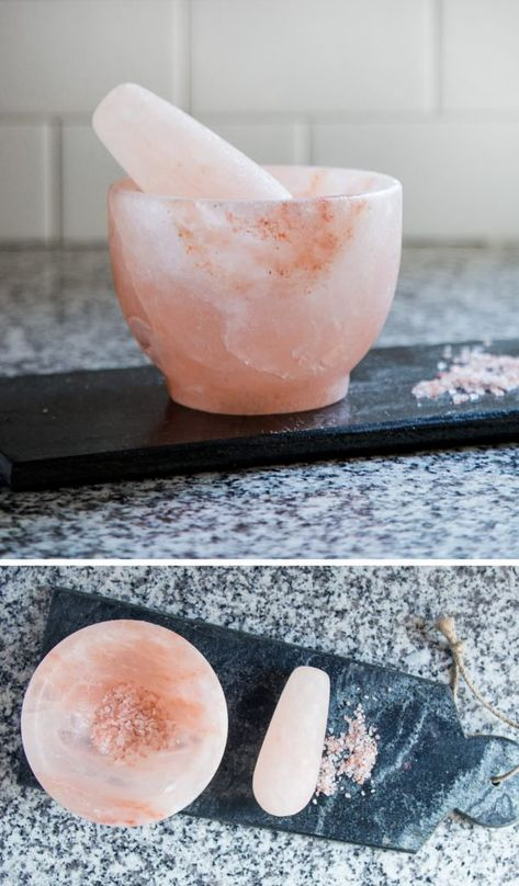 Salt Crystal Mortar and Pestle // The kitchen tool you never knew you needed. gadgets Mortar and Pestle: The Kitchen Tool You Never Knew You Needed Kitchen Supplies, Kitchen Items, Kitchen Utensils, Kitchen Tools And Gadgets, Kitchen Products, Kitchen Decor, Kitchen Necessities, Kitchen Essentials, Decorating Kitchen