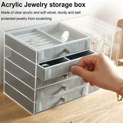 Ebay Advertisement Acrylic Jewelry Organizer 5 Drawers 2 Earring Hanger Two In One Necklaces Box In 2020 Acrylic Jewellery Jewellery Storage Earring Hanger