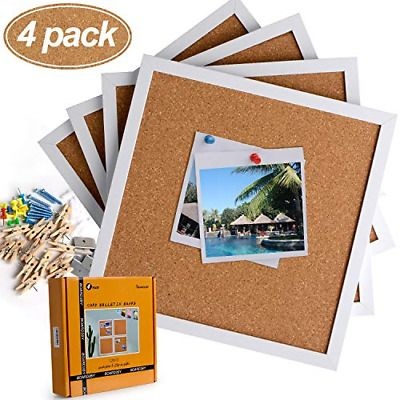 Cork Board Bulletin Board 12 X 12 White Framed Cork Tiles Small Corkboards For Fashion Home Garden Homedcor Mes In 2020 Wood Clips Cork Board