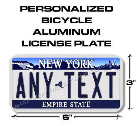 Ny New York Any Text Bicycle Toy Bike Scooter Power Wheels License