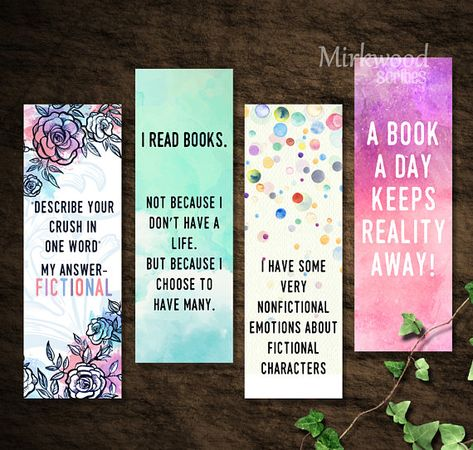 Printable Fangirl Bookmarks Bookmarks For Book Lovers Set Of 4