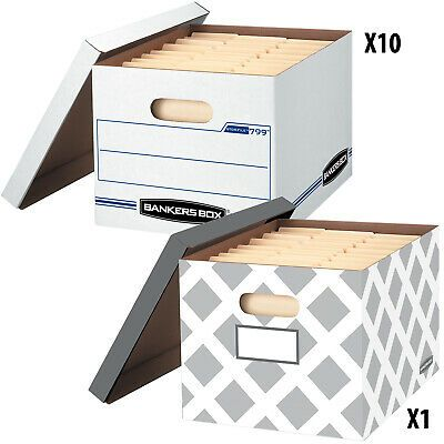 Sponsored Ebay 10 1 Bonus Count Bankers Box Storage Boxes 12 X 10 X 15 In 2020 Storage Boxes Record Storage Box Storage